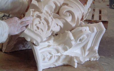 Réalisation d'un moule en élastomère pour restauration d'un chapiteau de colonne corinthien